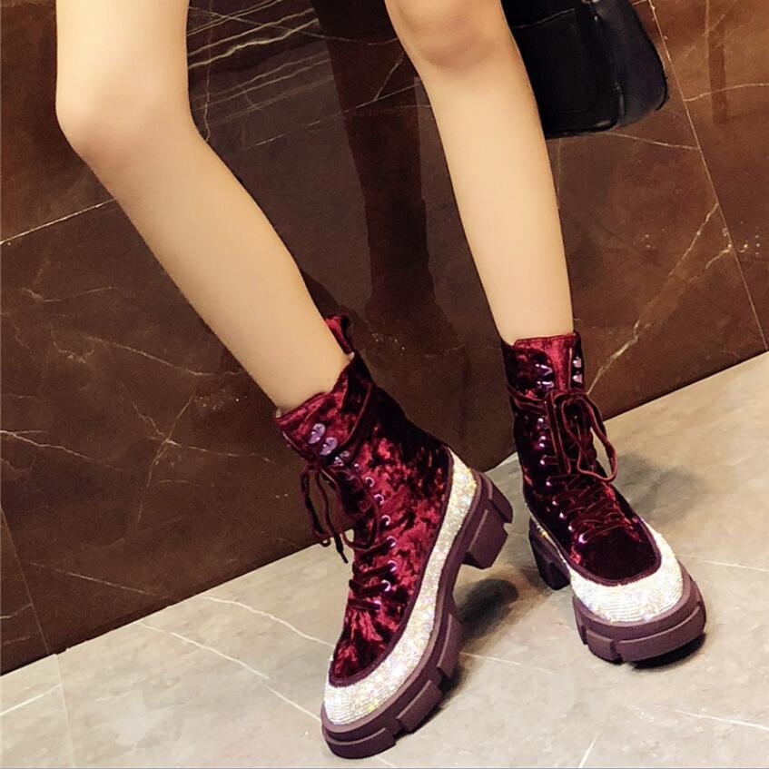 Femmes Velours Wedge De with Inside Strass 2019 Noir Fur Up Piste Rouge Chaussures Show As Lace Chaussons D'hiver Martin Bottes Inside Mode as Cuir Bling En Vin qwI0f0nx