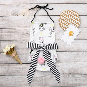 2019 Fashion Cute Newborn Kid Girl Easter Bunny Backless Bowknot Romper Clothes Erkek Bebek Tulum Easter Baby Kid Clothes 1