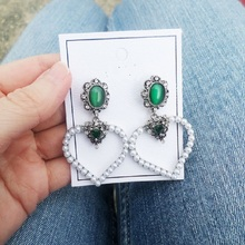 Statement Heart Drop Earrings For Women Bijoux Fashion Jewelry With Simulated-Pearl Cute Gift
