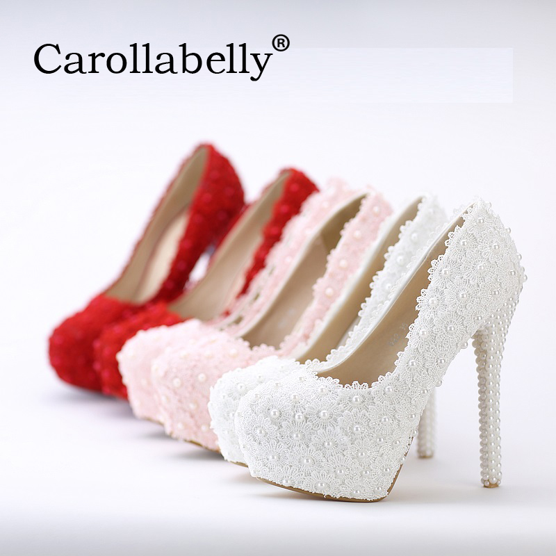Women Fashion Sweet White Red Flower Lace Platform High Heels