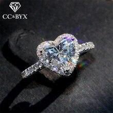CC сердце кольца для женщин S925 серебро Свадебные обручальные украшения кубический цирконий камень элегантное кольцо аксессуары CC829