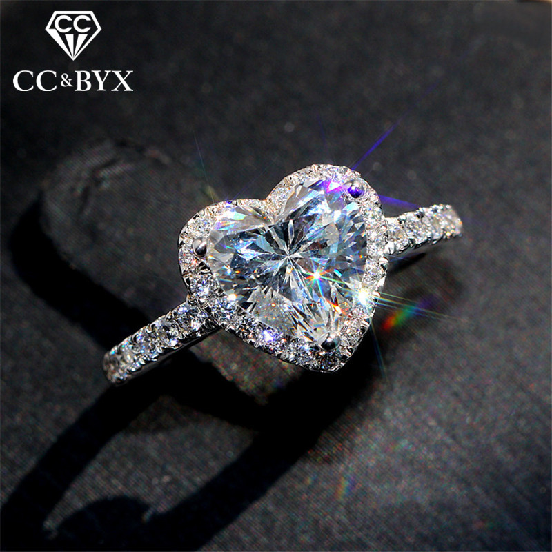 CC Heart Rings for Women S925 Silver Wedding Engagement Bridal Jewelry Cubic Zirconia Stone Elegant Ring Accessories CC829(China)