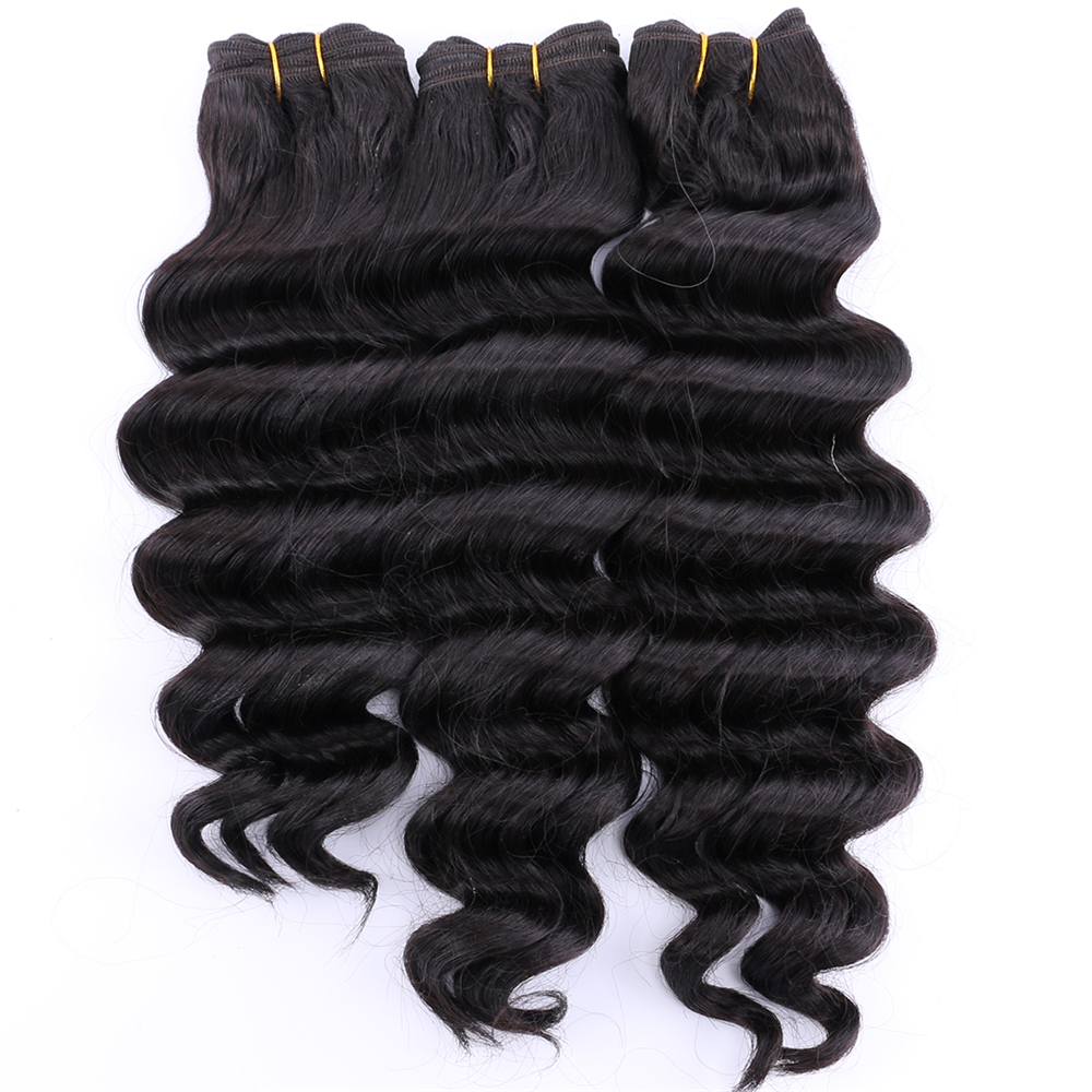 Color 2# Deep Wave Hair 300Gram/lot High Temperature Synthetic Hair Bundles 12-20 Inch Available Hair Weave