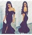 Negro atractivo de la sirena prom dress fuera del hombro de noche largo partido de los vestidos 2017 vestidos de las mujeres de largo dress