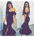Sexy preto sereia prom dress fora do ombro longa noite vestidos de festa 2017 vestidos mulheres long dress