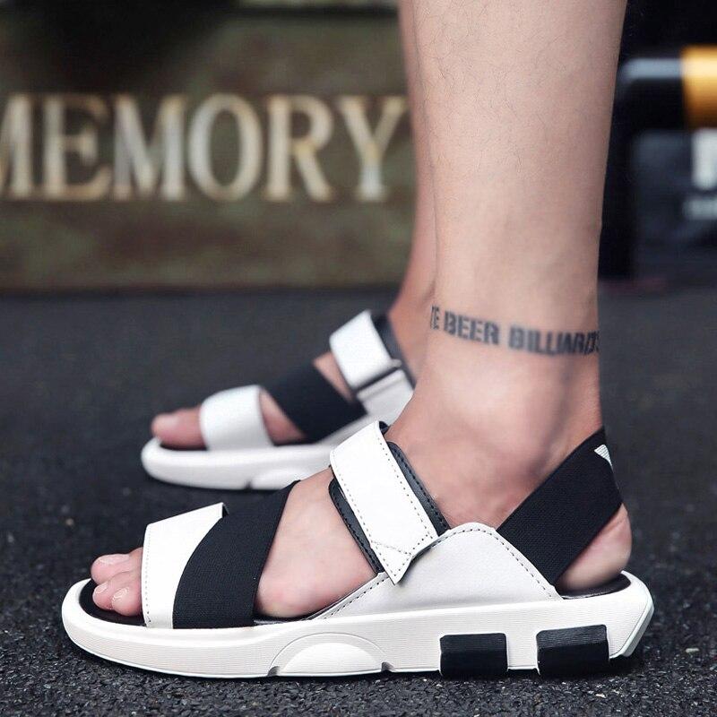 Verano Playa Nuevo Alta Hombres Moda 2018 Causales Marca Zapatos white Cuero De Libre Calidad Aire Sandalias Zapatillas Al Black wRSqSZt8