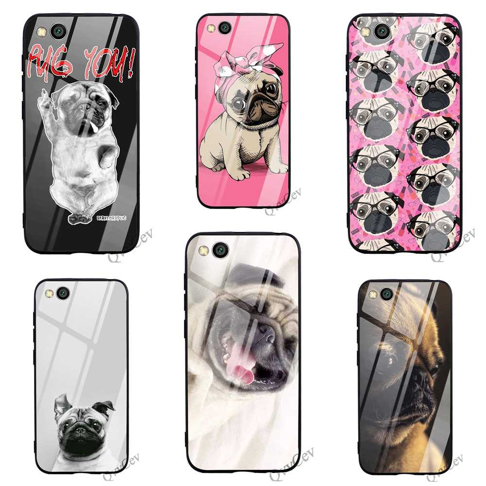 Slim Cute <font><b>Pug</b></font> Dog Tempered Glass Phone <font><b>Cover</b></font> for <font><b>Xiaomi</b></font> 8 Lite Case A1 <font><b>A2</b></font> 9 F1 Redmi Note 5 Pro 4X 6A 7 6 Silicone image