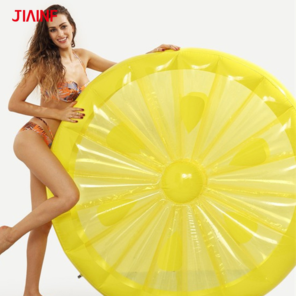 JIAINF 2018 New Style Beach Party Giant Inflatable Lemon Floating Row Family Pool Party Big Floating Bed Toys