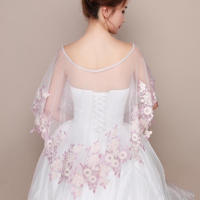 JaneVini Lace Wrap Mariage Girls Bolero White Flowers Tulle Bolero Dames Bridal Cape Summer Wedding Coprispalle Donna Estivo
