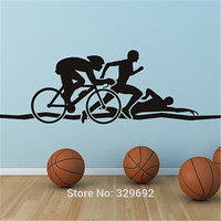 Gratis Verzending Sport Man Triathlon Atletiek Art Muursticker Sticker DIY Home Decoratie Muurschildering Verwisselbare Slaapkamer Sticker