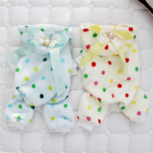 Купить с кэшбэком New Spring and winter dog clothes for pets plush pajamas soft coral velvet Teddy bear poodle home clothes cute warm chihuahua