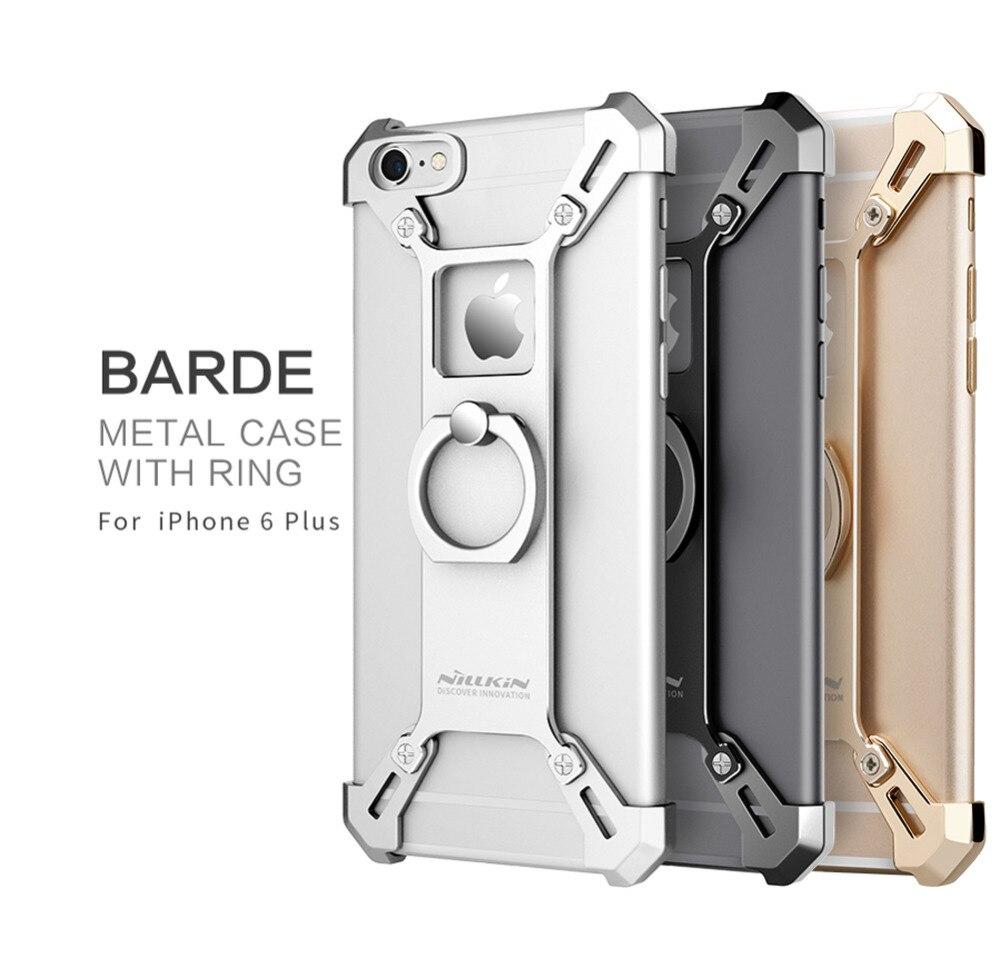 imágenes para Nillkin para el iphone 6 más cubierta de parachoques 5.5 ''Bardes De Aluminio BRICOLAJE aleación de la contraportada con el anillo de soporte para teléfono para iphone 6 s plus caso