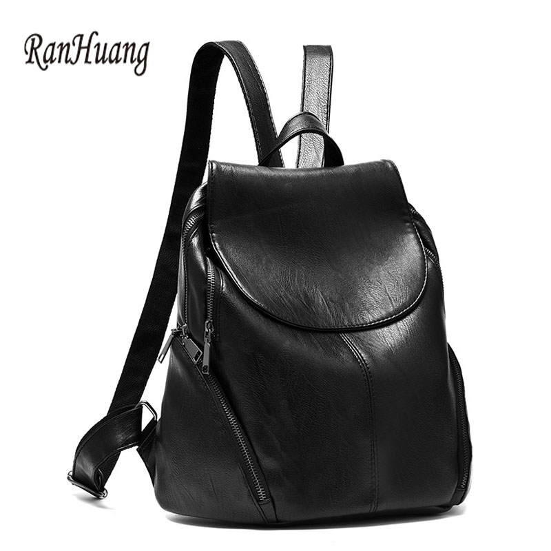 RanHuang Women Casual Backpack Preppy Style Pu Leather Backpack School Bags For Teenage Girls Black Rucksacks mochila feminina new style edc round three corner camouflage hand spinner for autism and adhd anxiety stress relief focus toys