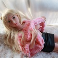 Athemis pink Faux fur jumper coat  and leather sexy skirt real sex doll outfit  high quality custom made size