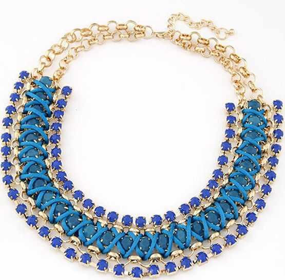 Fashion fluorescent color Metal discus establishment  temperament Fashion geometric weaving colorful personality lovely necklace