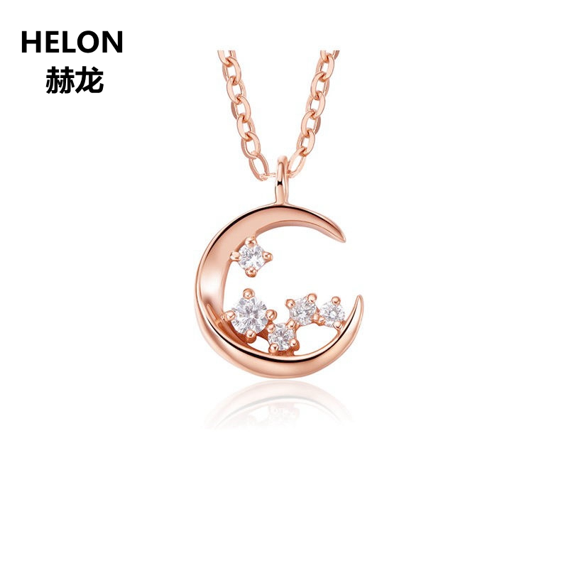 Solid 18k Rose Gold Natural Diamonds Pendant Necklace Fine Jewelry Women Engagement Wedding Pendant Gift alloy rose flower pendant necklace