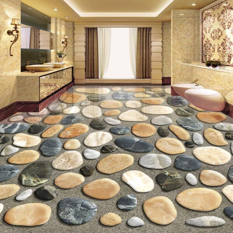 Custom Photo Wallpaper 3D Floor Painting Cobblestone Mural Bathroom Kitchen PVC Self Adhesive Waterproof 3D Floor Sticker Decor