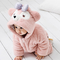 Warm Baby Rompers Winter Thick Cotton Boy Funny Bear Warm Cute Ear Hooded Cartoon Costume Animal Afairytale Jumpsuit Outfit