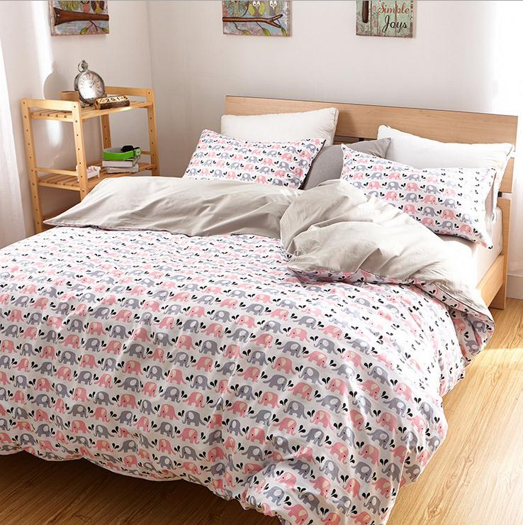 Luxury elephant bedding set queen king twin size cotton - Drap housse king size ...