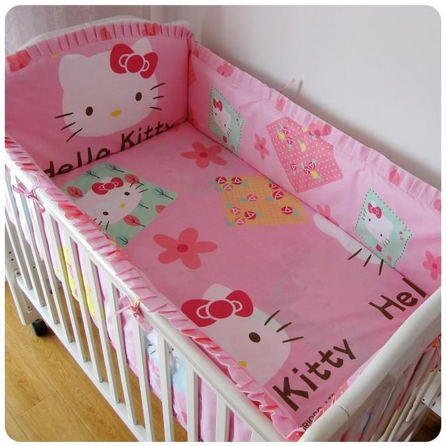 Promoção! 6 PCS olá Kitty conjunto de cama berço Set 100% algodão Crib Set ( bumpers folha + travesseiro )
