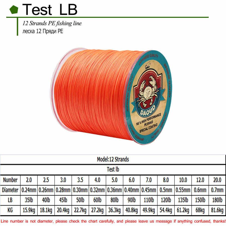 DAOUD 12 brins tisse 1000 m ligne de pêche tressée Super forte 8 couleurs tresse PE fil carpe ligne de pêche 35-180LB