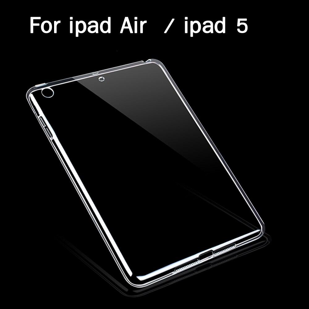 Tabletės Ipad Air1 korpuso plonas Crystal Clear TPU silikono apsauginis nugaros dangtelis iPad 5 minkštuosius 2 PCS laisvos dovanos