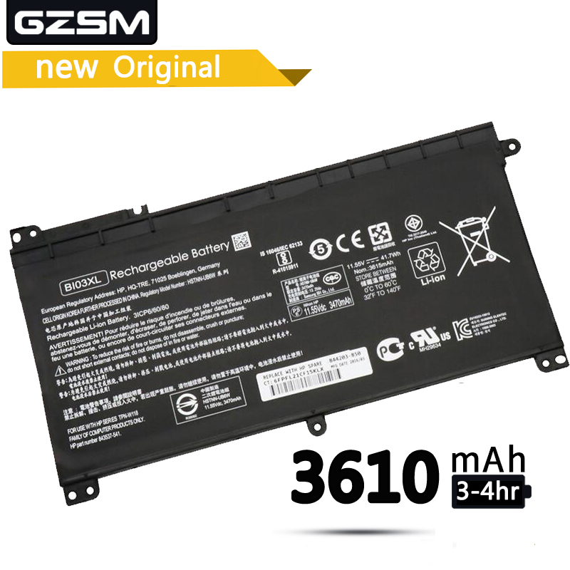GZSM Laptop Battery BI03XL For HP PavilionX360 13-U100TU U113TU Laptop Battery HSTNN-UB6W TPN-W118 843537-541 844203-850 Battery