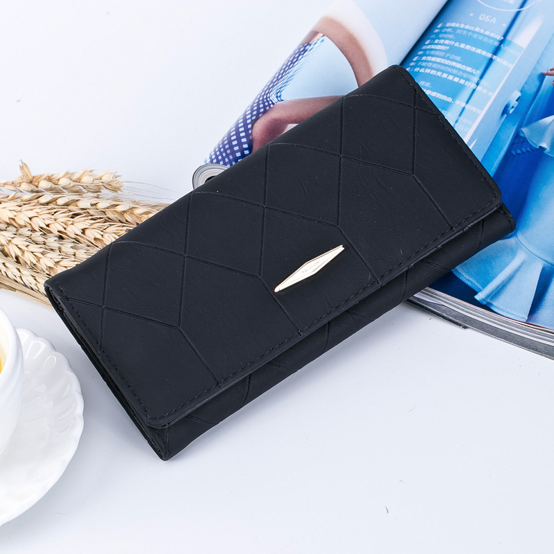 BOTUSI New Fashion Ling Grid Embossed Wallet Purse Women Ladies Clutch Long Purse Female Hasp Wallet Coin Purse Card Holder