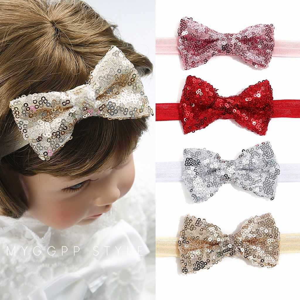 Mejor venta dulce bebé niña lentejuelas lazo diadema niña bebé diadema traer lazo nudo accesorios para el cabello para chica alta calidad @ 47