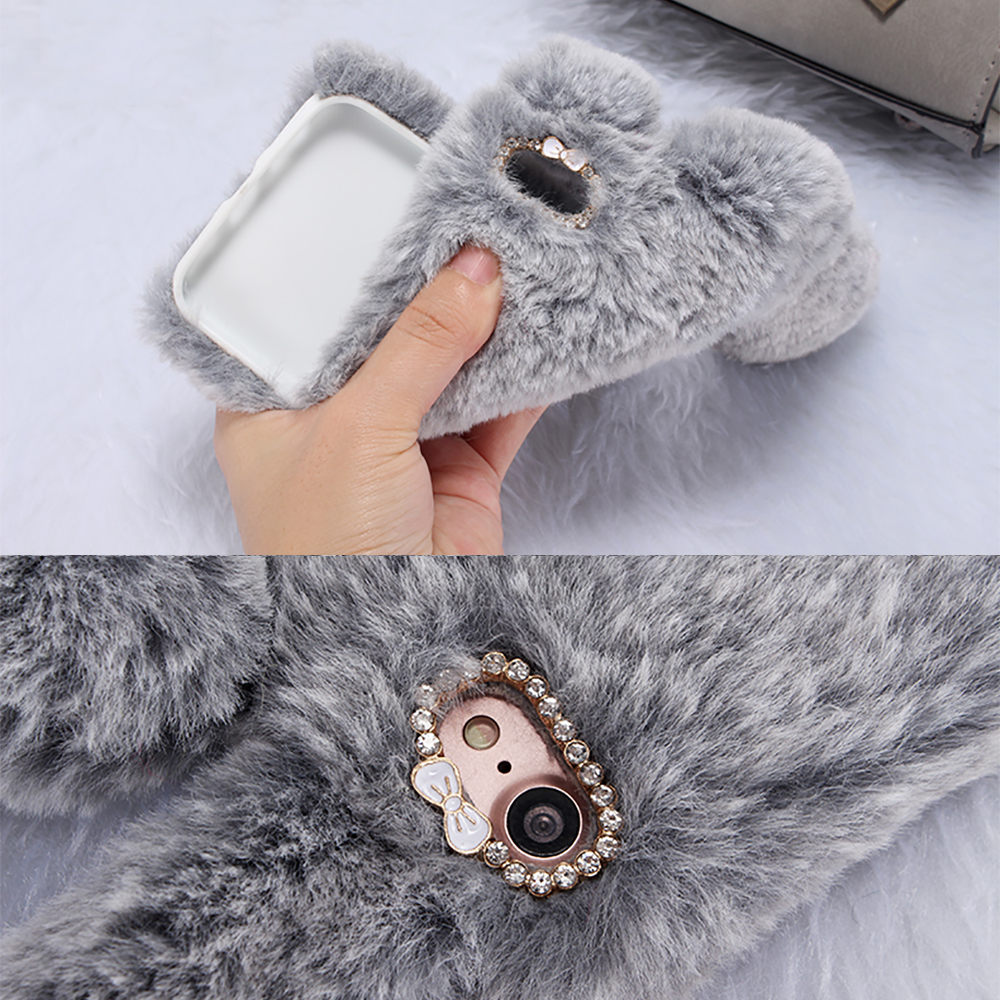 KIPX1033_9_For iPhone 7 8 Case 3D Rabbit Hairy Warm Winter Fur Bling Rhinestone Plush Bunny Cover Case for iPhone XS XR 5 5S SE 6S 7P 8 Plus