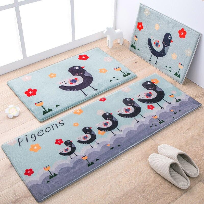 50X80 + 45X120 CM/Set tapis de cuisine oiseau de bande dessinée anti-dérapant tapis de salle de bain entrée/couloir paillasson enfants chambre tapis