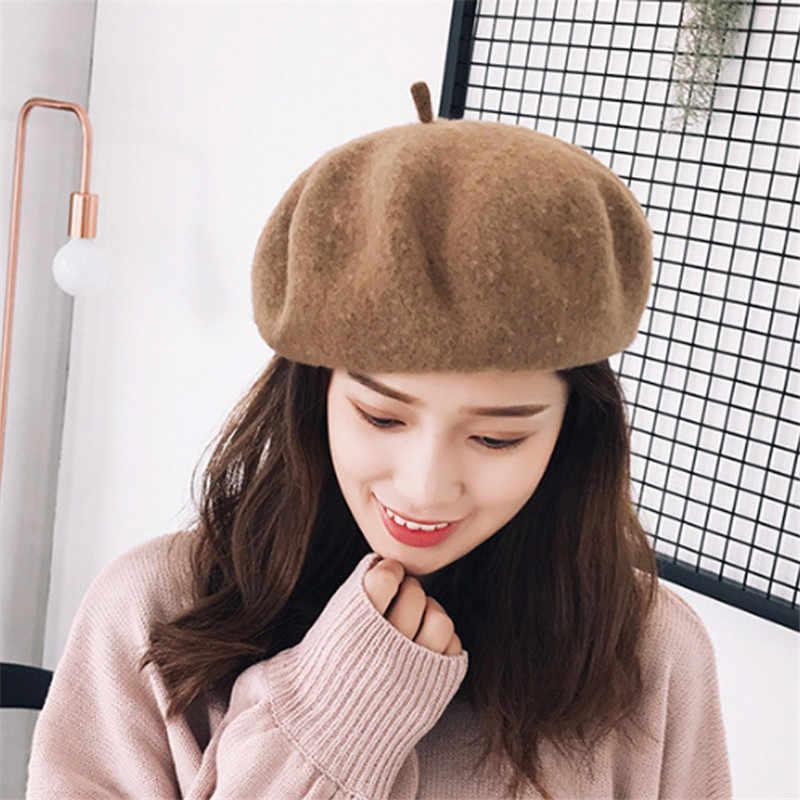 2019 New Hot Wanita Musim Dingin 100% Wol Topi Baret Wanita Cap Buatan Tangan Tali Crossing Busur Tukang Koran Topi untuk Wanita Artis cap