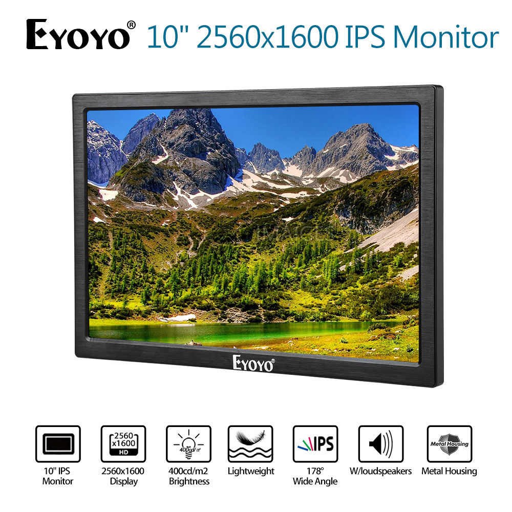 EYOYO 10 2560x1600 IPS Gaming Monitor Input 8BIT Dual HD 1080P 400cd/m2 Built-in Speakers For PC DVD PS2 PS3 PS4 Xbox