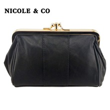 NICOLE & CO Women Coin Purse Genuine Leather Card Holder Wallet Metal Frame Change Purse For Girls Original Small Coin Bag