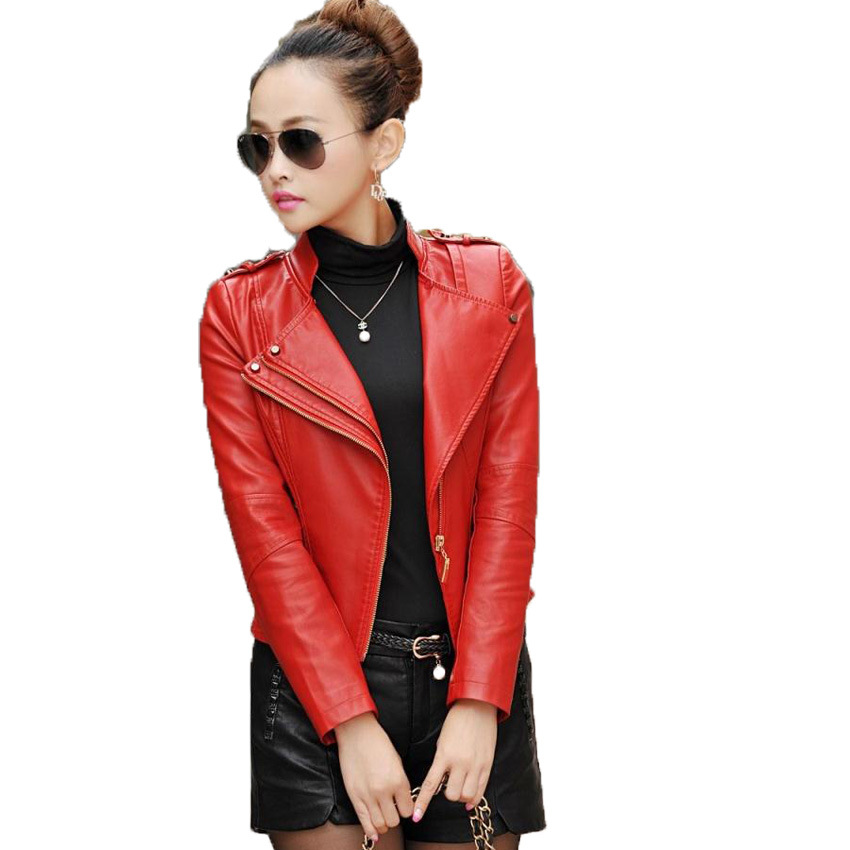free shipping women's leather jackets slim short  leather clothing women female fur clothing Plus size M-4XL 8 colors 148 1