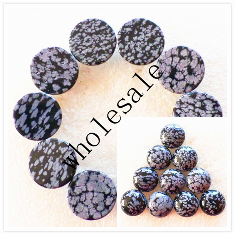 (12 pieces/lot) Wholesale High Quality Natural Snowflake Obsidian CAB Cabochon for jewelry Accessories 20X6mm Free Shipping