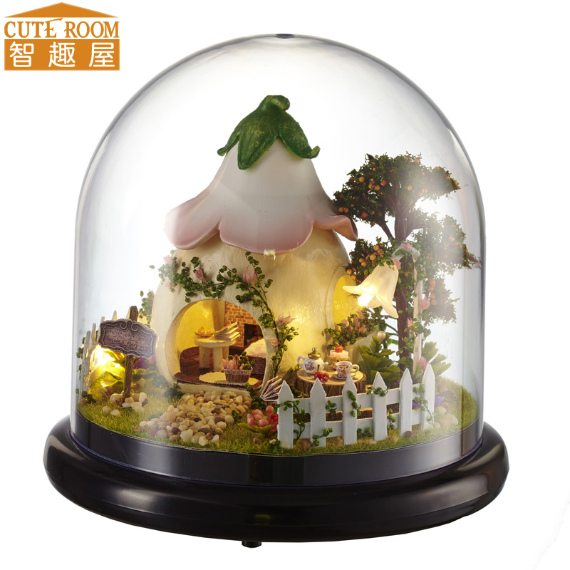 Cutebee DIY House Miniature with Furniture LED Music Dust Cover Model Building Blocks Toys for Children Casa De Boneca B015