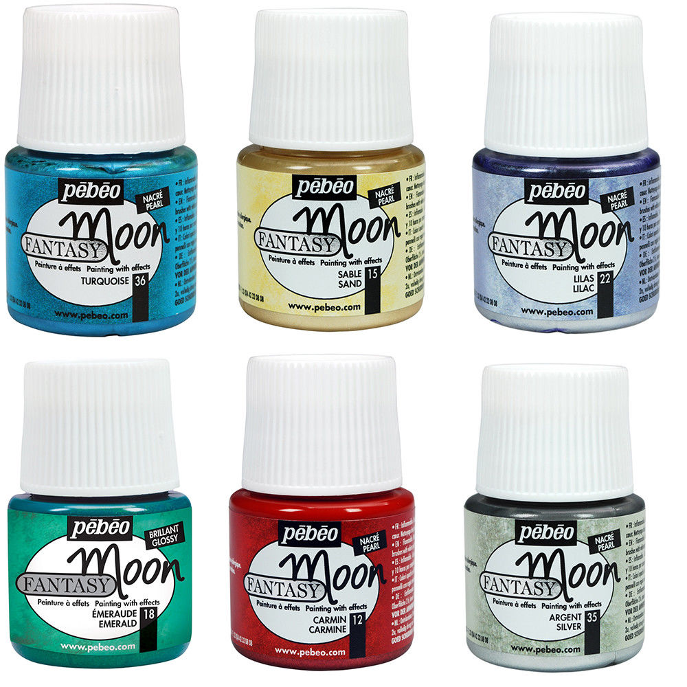 Pebeo FANTASY MOON Multi Surface Marble Effect Craft Paint 45m 18 Colours For Metal, Wood, Ceramic, Canvas, Glass, Teracotta Etc