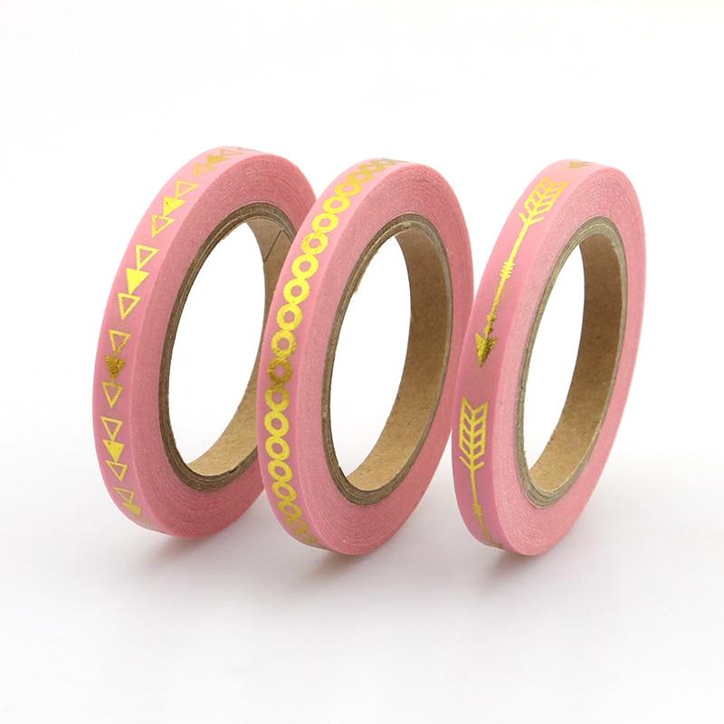 2017 New 3pcs Slim Pink Arrow Foil Washi Tape Set 5mm*10m Split Line Masking Tape Decoration Stickers Stationery School Supplly