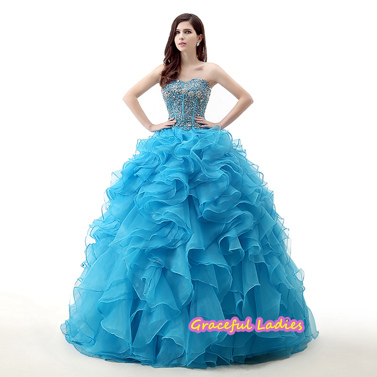 Blue Luxury Cheap Quinceanera Gowns Dress For 15 Years Floor Length ...