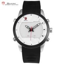 Sawback ángel shark reloj del deporte del nuevo diseño led 3d blanco alarma de la agenda digital de doble movimiento correa de silicona reloj de los hombres/sh541