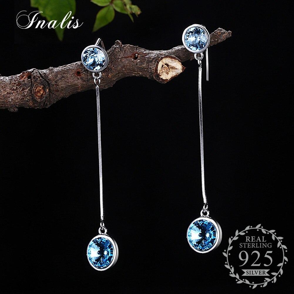INALIS 925 Sterling Silver Blue Zircon Drop Earrings Long Chain Earrings for Women Girls Gift Fine Jewelry Party Style