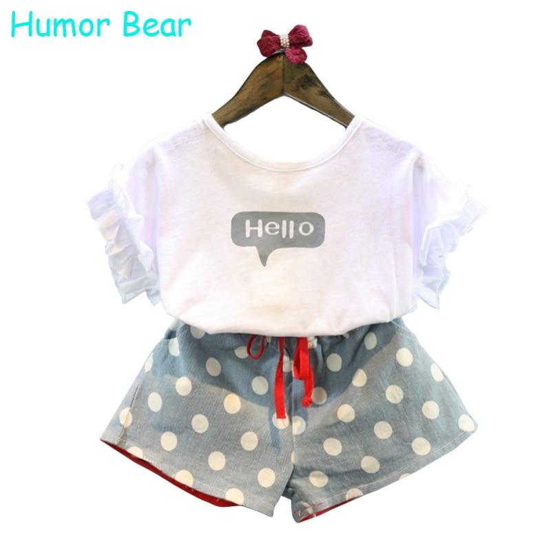 Humor Bear Girls Clothes 2017 Brand Girls Clothing Sets Kids Clothes Cartoon Children Clothing Hello Tops+Shorts Clothing Set