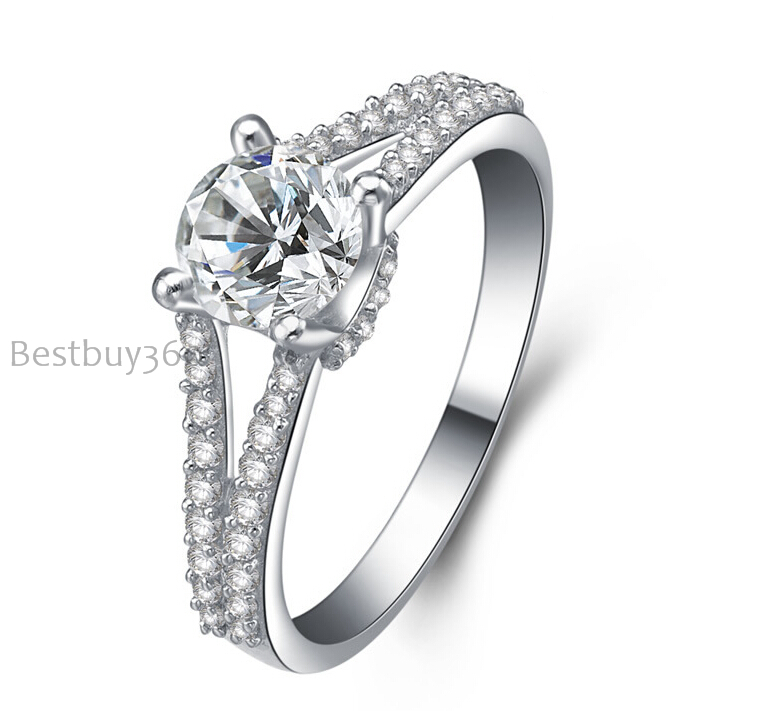 0.8ct 4 prongs ring pure 925 silver simulation NSCD sona man made diamond wedding ring ...