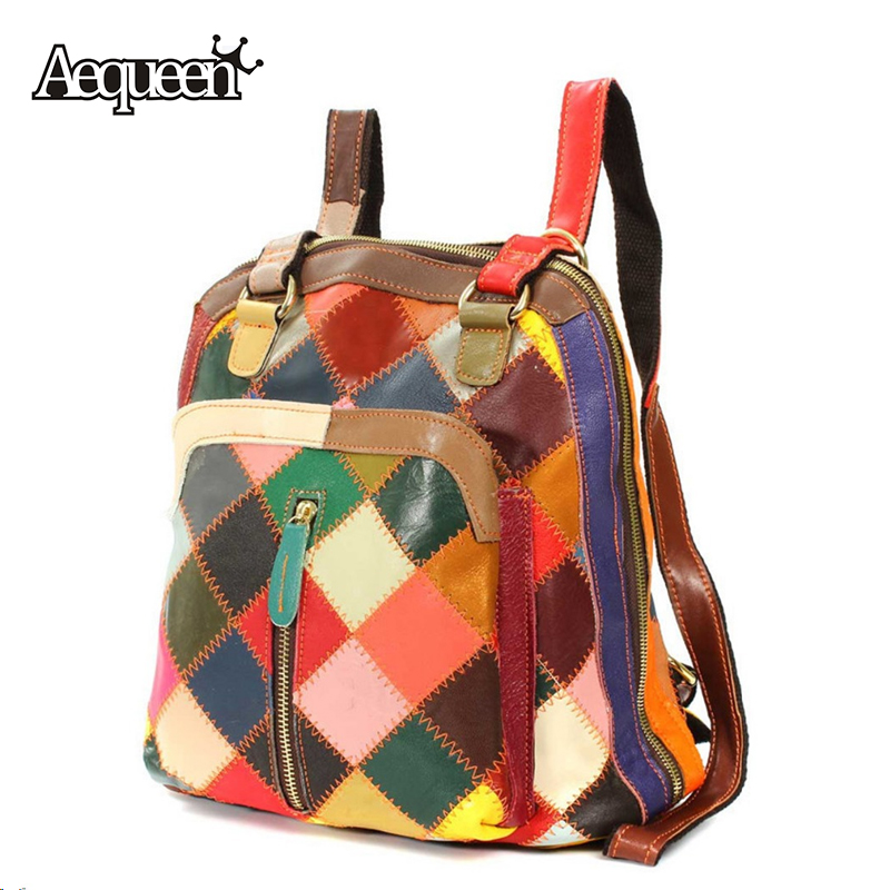 100% Genuine Leather Backpack Women Mochila Patchwork Plaid Pattern New Shoulder Bag England Preppy Style Vintage Schoolbag