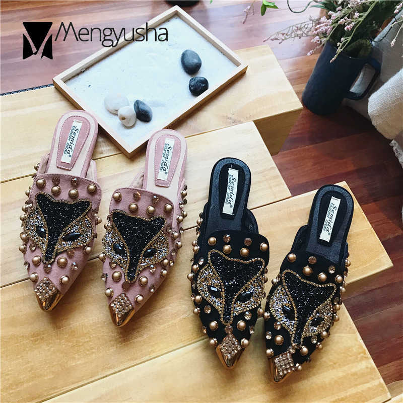 Vos patroon bling babouche mujer muilezels slides zomer crystal metalen teen slippers vrouw studs bling sandalias dames slippers