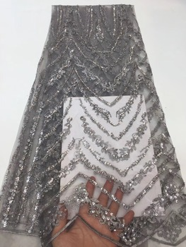 New Arrival Party Dress African Lace Fabric Sequin Fabric High Quality Embroidered French Tulle Lace Fabric