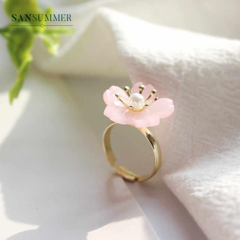 Sansummer Transparent Flower Shape Girly Cute Sweet Lady Fashion Fan Fashion Pearl Bracelet Hairpin Earring For Women Jewelry