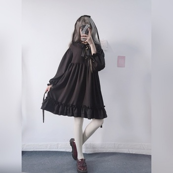 Harajuku Gothic Lolita Black Womens Dress With Stars Buttons 2018 Autumn Japanese Lace Up Long Sleeves Ruffles Teen Girls Dress 3