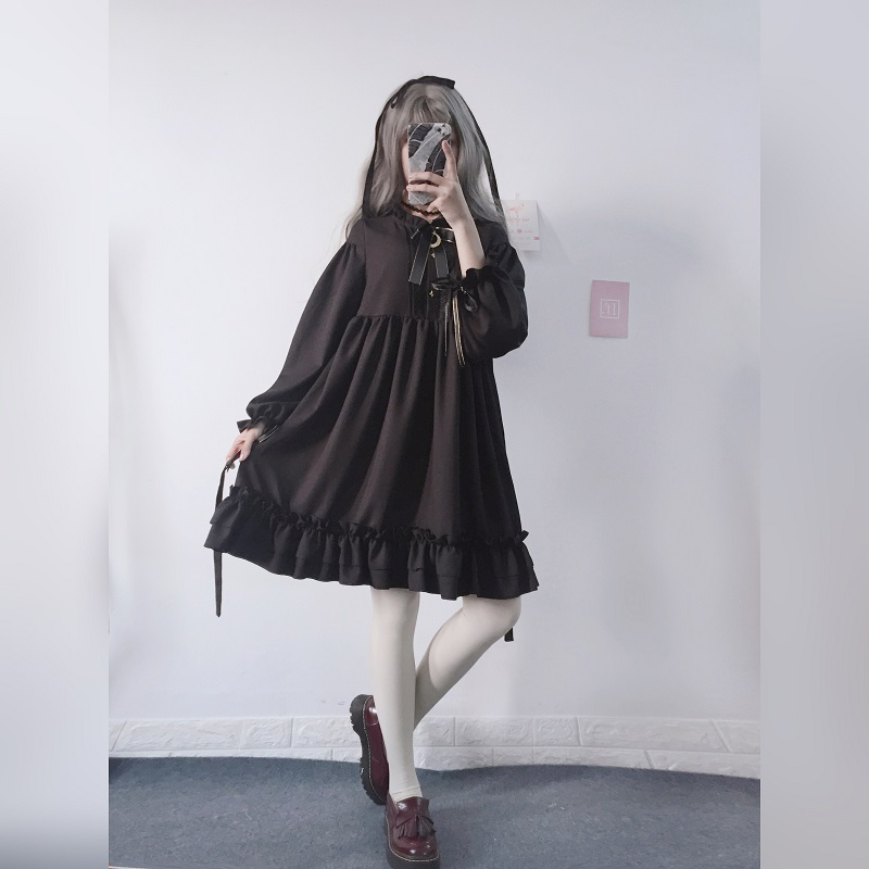 Harajuku Gothic Lolita Black Womens Dress With Stars Buttons 2018 Autumn Japanese Lace Up Long Sleeves Ruffles Teen Girls Dress in Dresses from Women 39 s Clothing